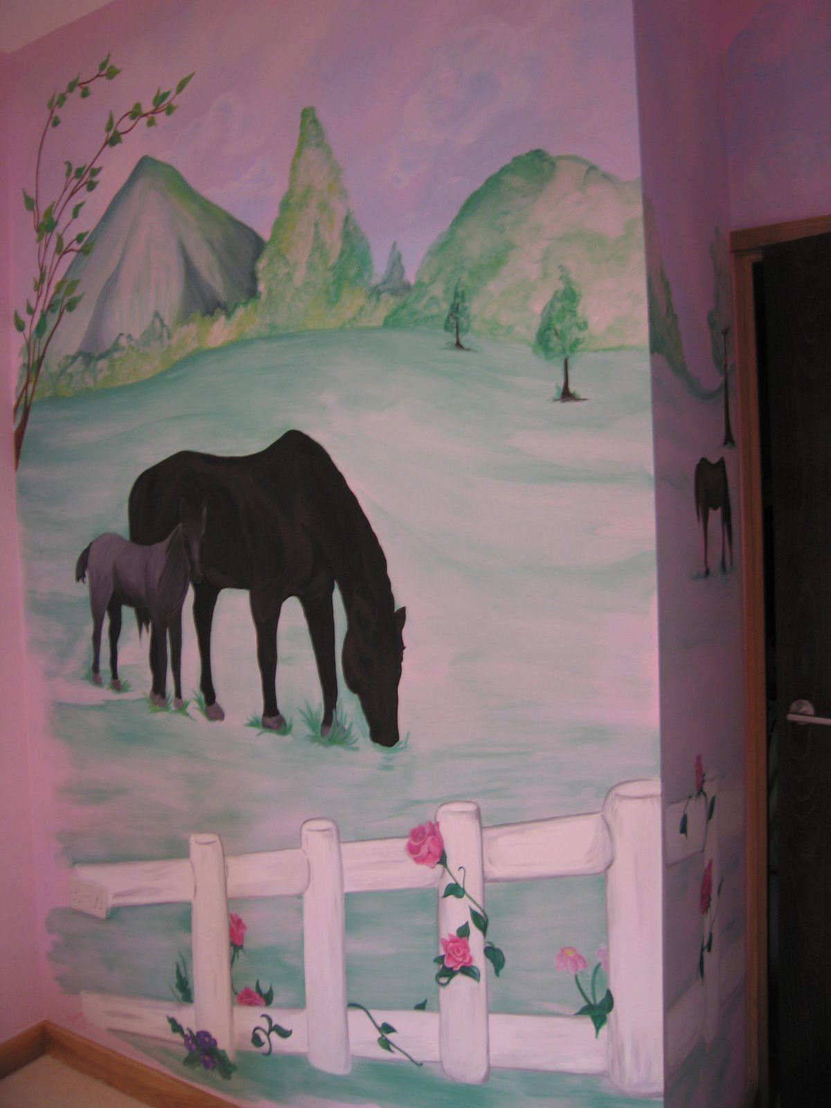 Childrens wall murals the muralist kids custom art for Equestrian wall mural