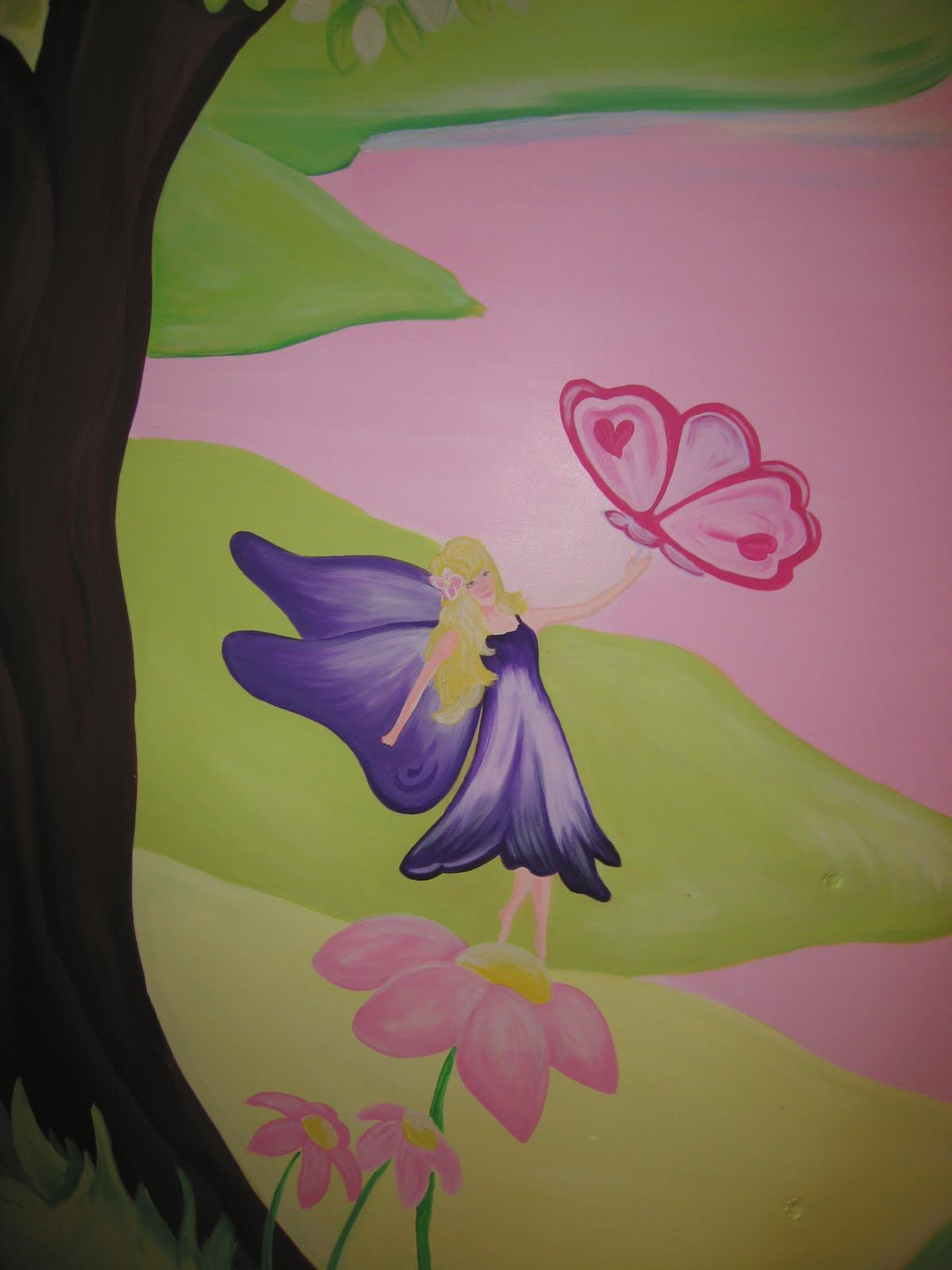 Childrens wall murals the muralist kids custom art for Fairy castle wall mural