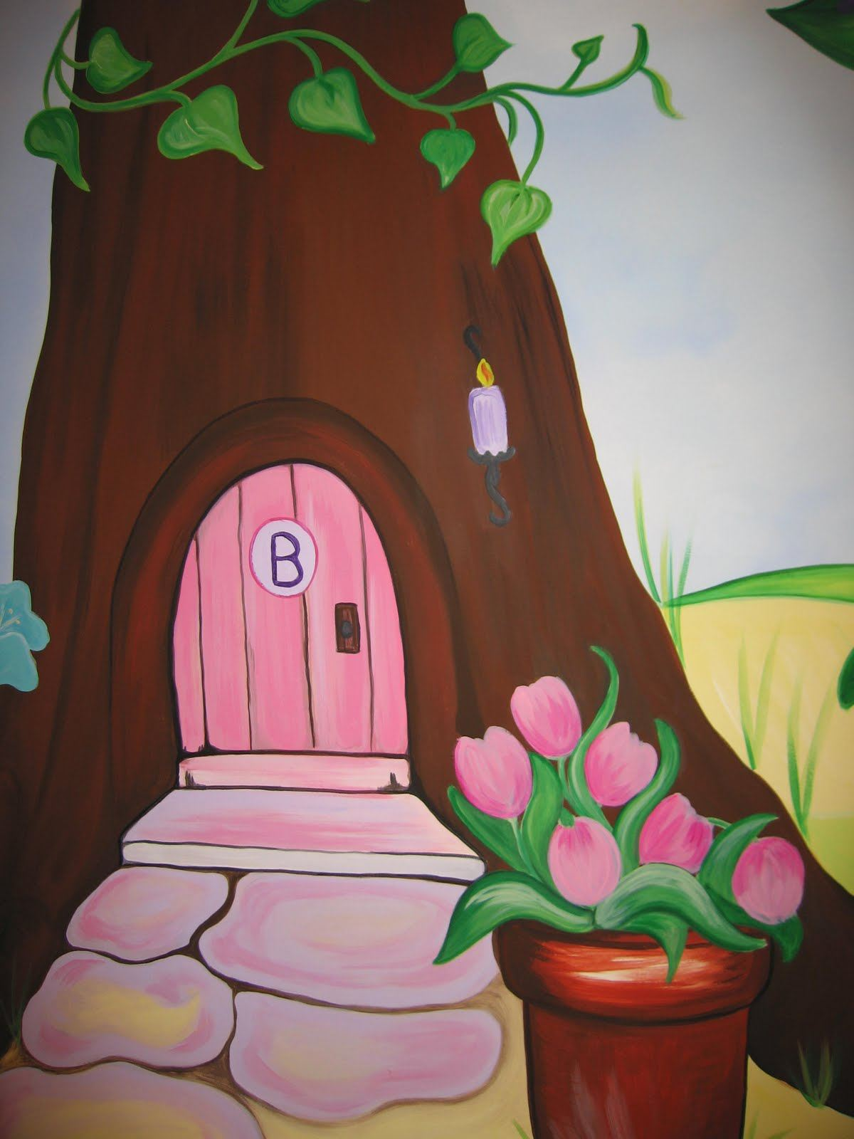 Childrens wall murals the muralist kids custom art for Fairy garden wall mural
