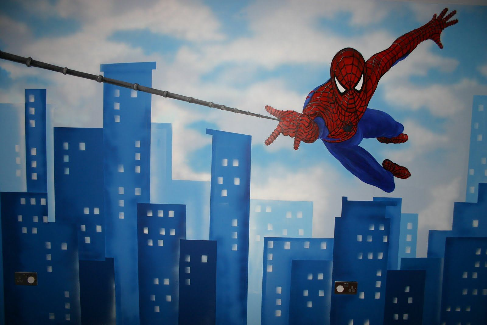 Childrens wall murals the muralist kids custom art for Spiderman decorations