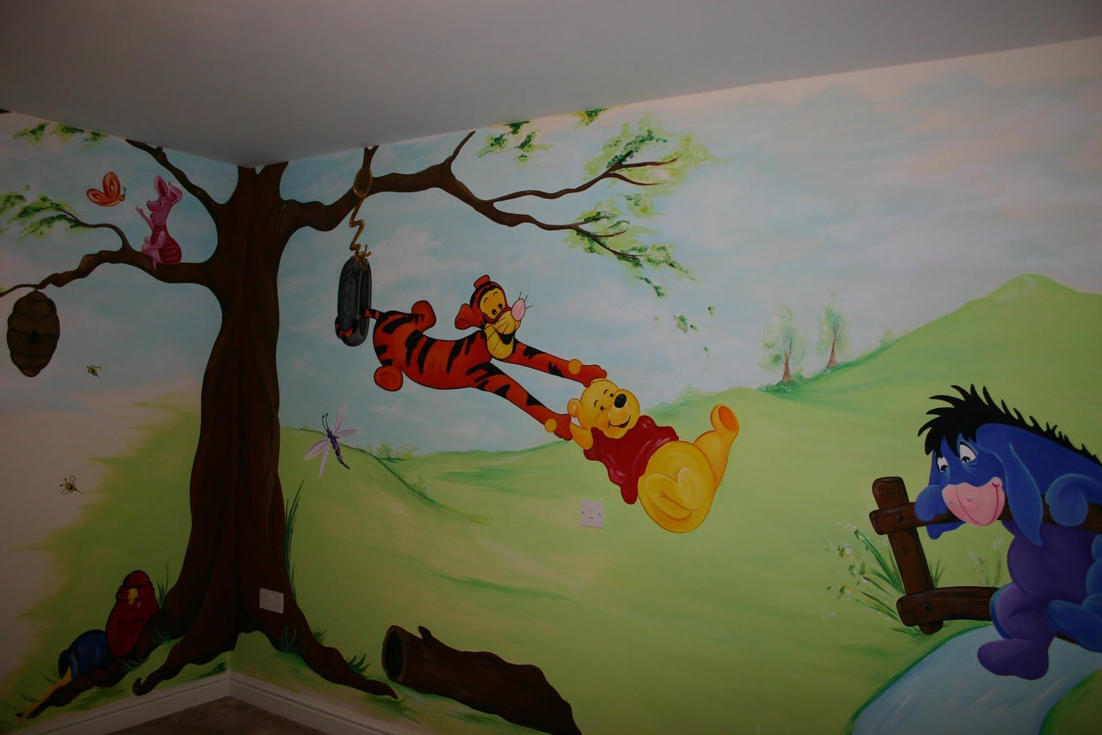 childrens wall murals the muralist kids custom art wall murals pooh mural hundred acre wood